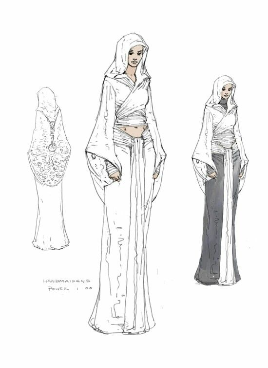 "Concept art of Padme Amidala in Tatooine outfit from ""Star Wars Episode II Attack of the Clones"" (2002)."
