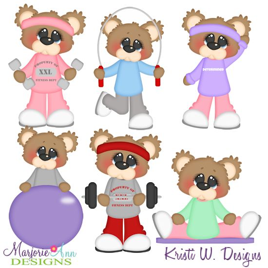 Bubbles The Bear Getting Fit SVG-MTC-PNG plus JPG Cut Out Sheet(s) Our sets also include clipart in these formats: PNG & JPG