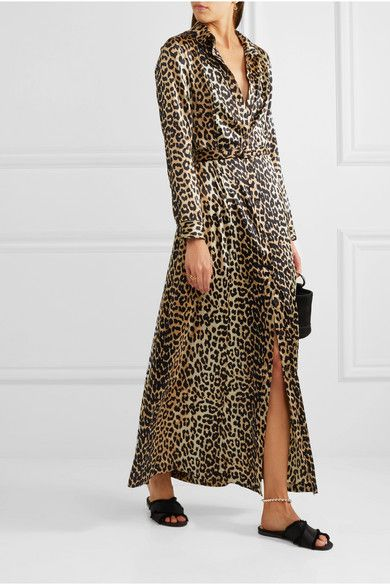 d93605da GANNI | Dufort leopard-print silk-blend satin maxi dress | NET-A-PORTER.COM