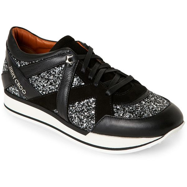 Jimmy Choo Black & Silver London Glitter Jogger Sneakers ($400) ❤ liked on Polyvore featuring shoes, sneakers, black, black leather trainers, leather sneakers, glitter shoes, jimmy choo shoes and synthetic leather shoes