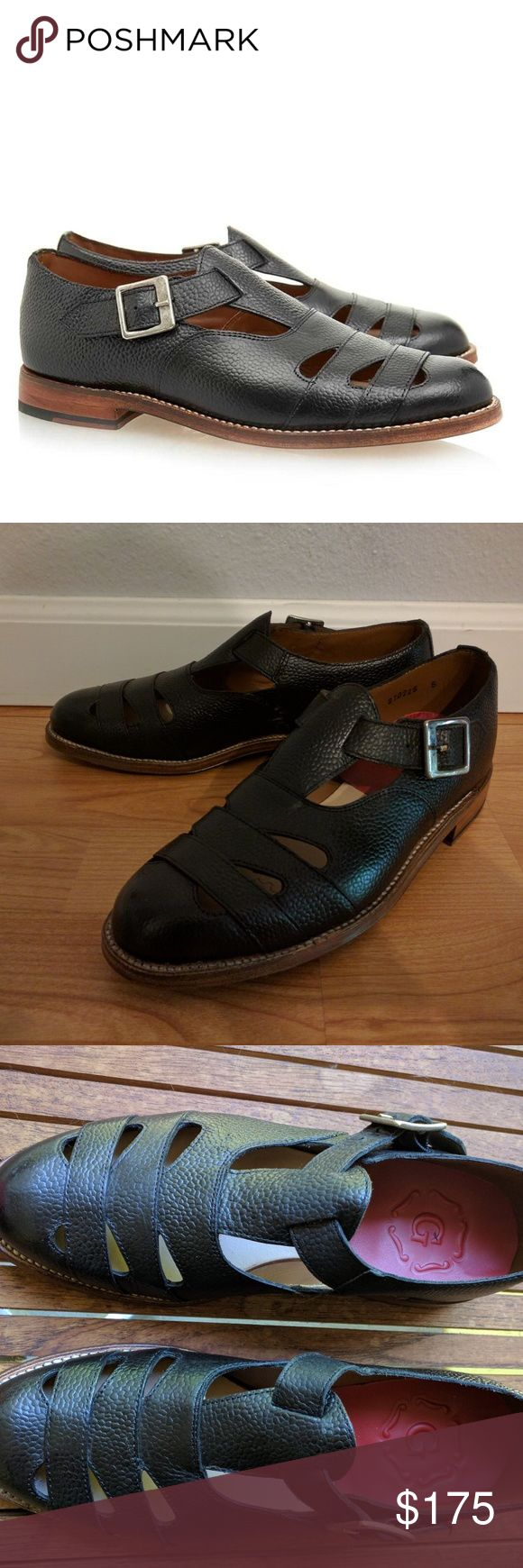 Grenson Briony Black Buckle Sandals Oxfords US 7 Beautiful unworn Goodyear welted Grenson shoes. Made in England, originally $410. Received as a gift and turned out to be too small. Size UK 5, US 7. Grenson Shoes Flats & Loafers