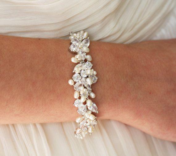 Wedding Jewelry Rhinestone, Freshwater Pearl and Swarovski Crystal Bridal Bracelet