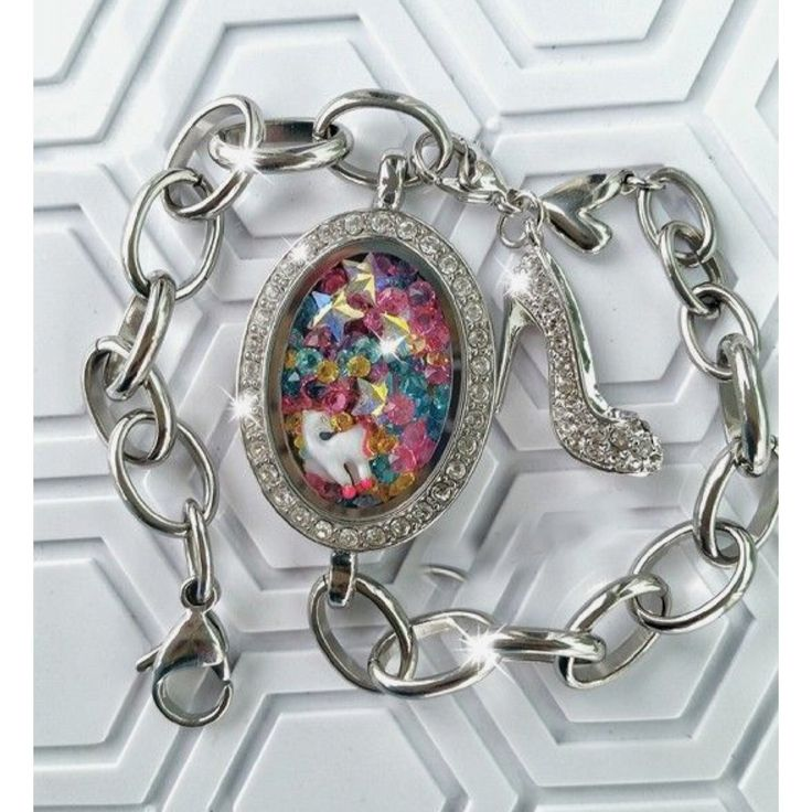 Rainbow Unicorn Locket Bracelet Origami Owl Custom Jewelry www.AnnisB.OrigamiOwl.com