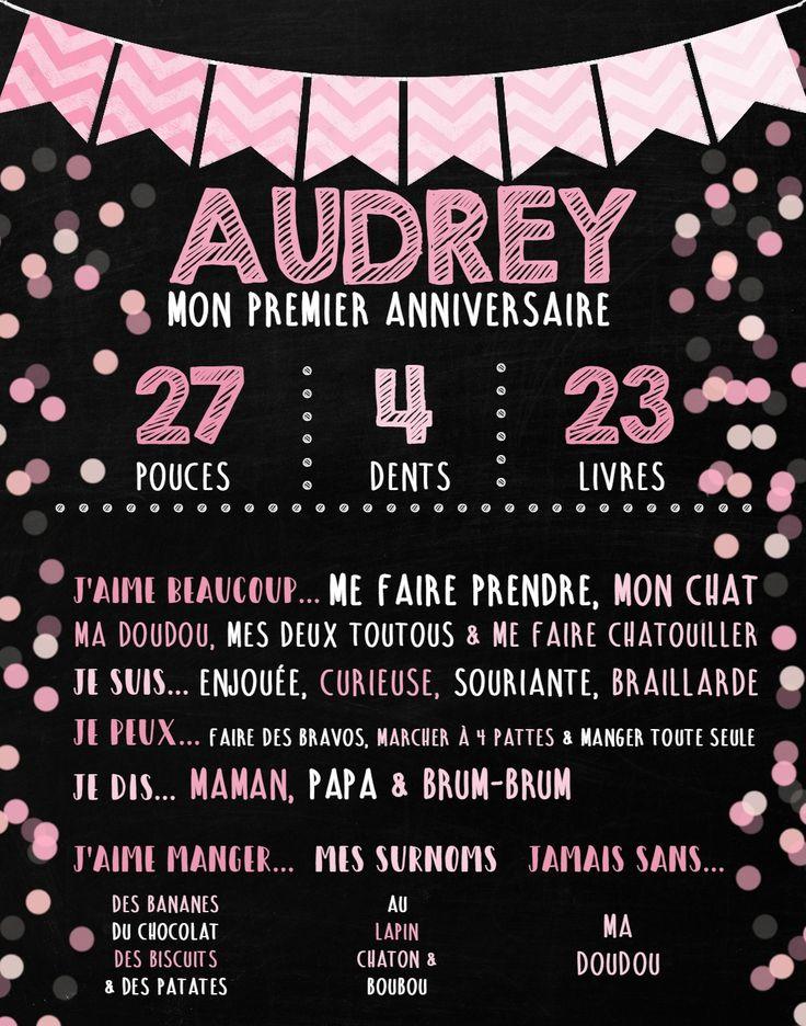 Affiche personnalisée 1er anniversaire - thème petites bulles roses.