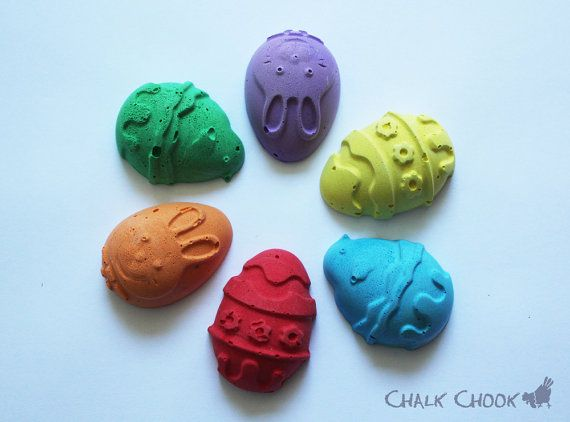 Easter Eggs  Set of 6 Chalks Gift Box by ChalkChook on Etsy, $9.95