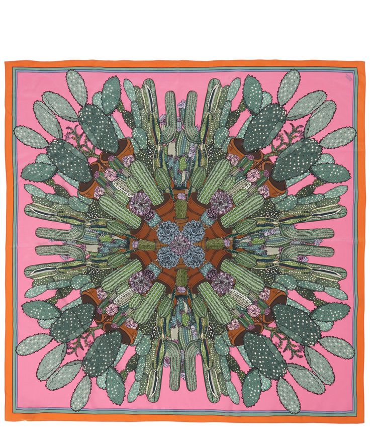 Silken Favours Pink Combustible Cacti Silk Scarf | Accessories | Liberty.co.uk