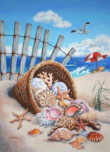 Basket of shells spilt onto the sand. Beach scene