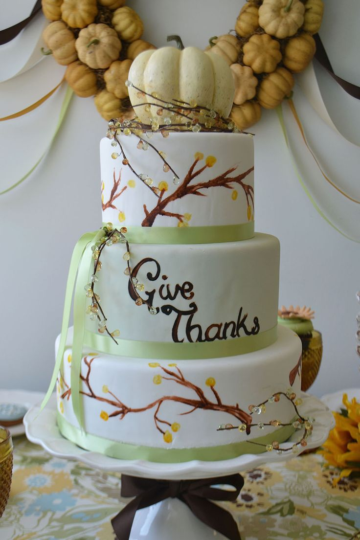 Three tiered Autumn Cake as a Thanksgiving centrepiece. By Bake Sale Toronto.