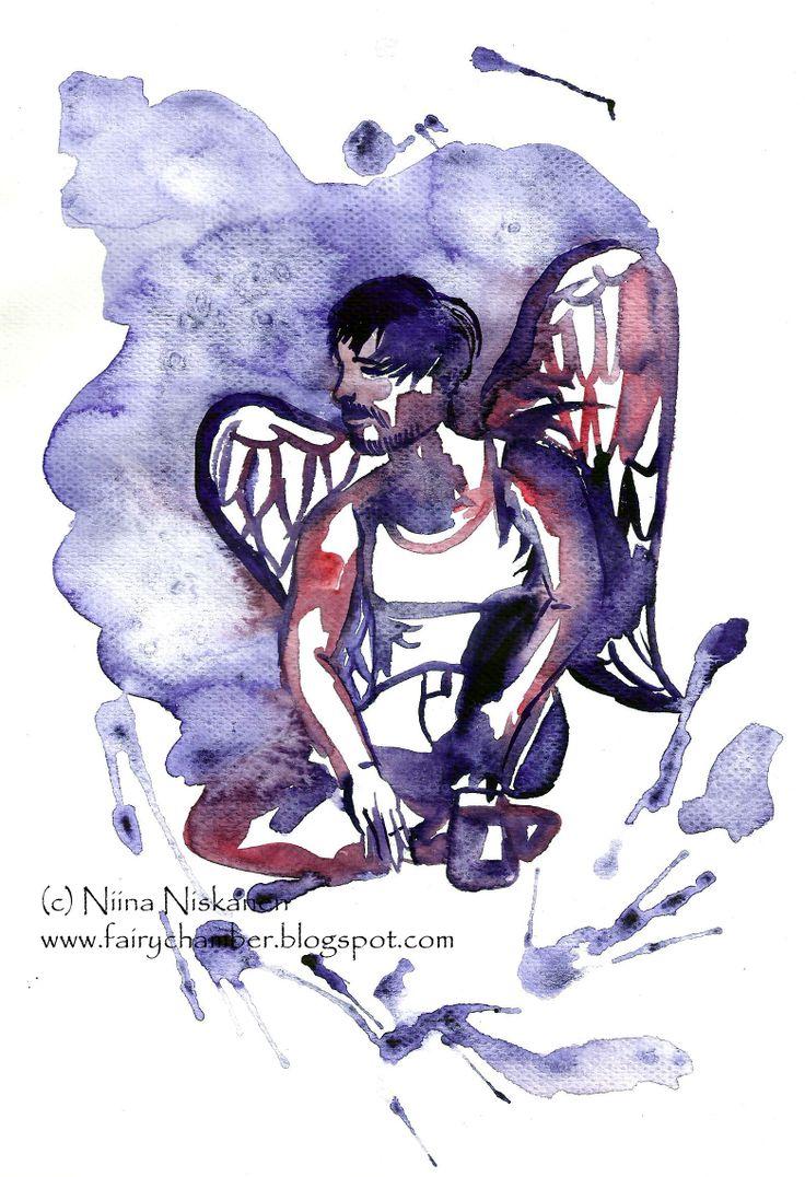 """Grunge angel"" (c) Niina Niskanen Aquarell painting"