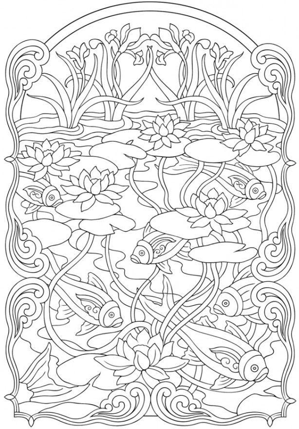 Kleurplaat: Vissen in een vijver.