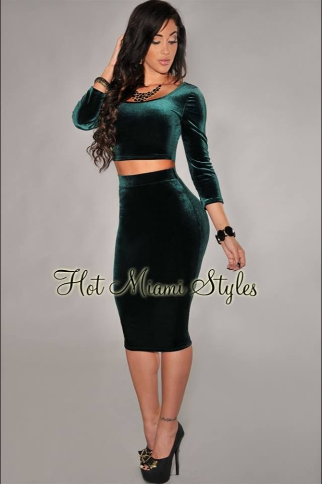 two set high waist skirt and crop top green dress