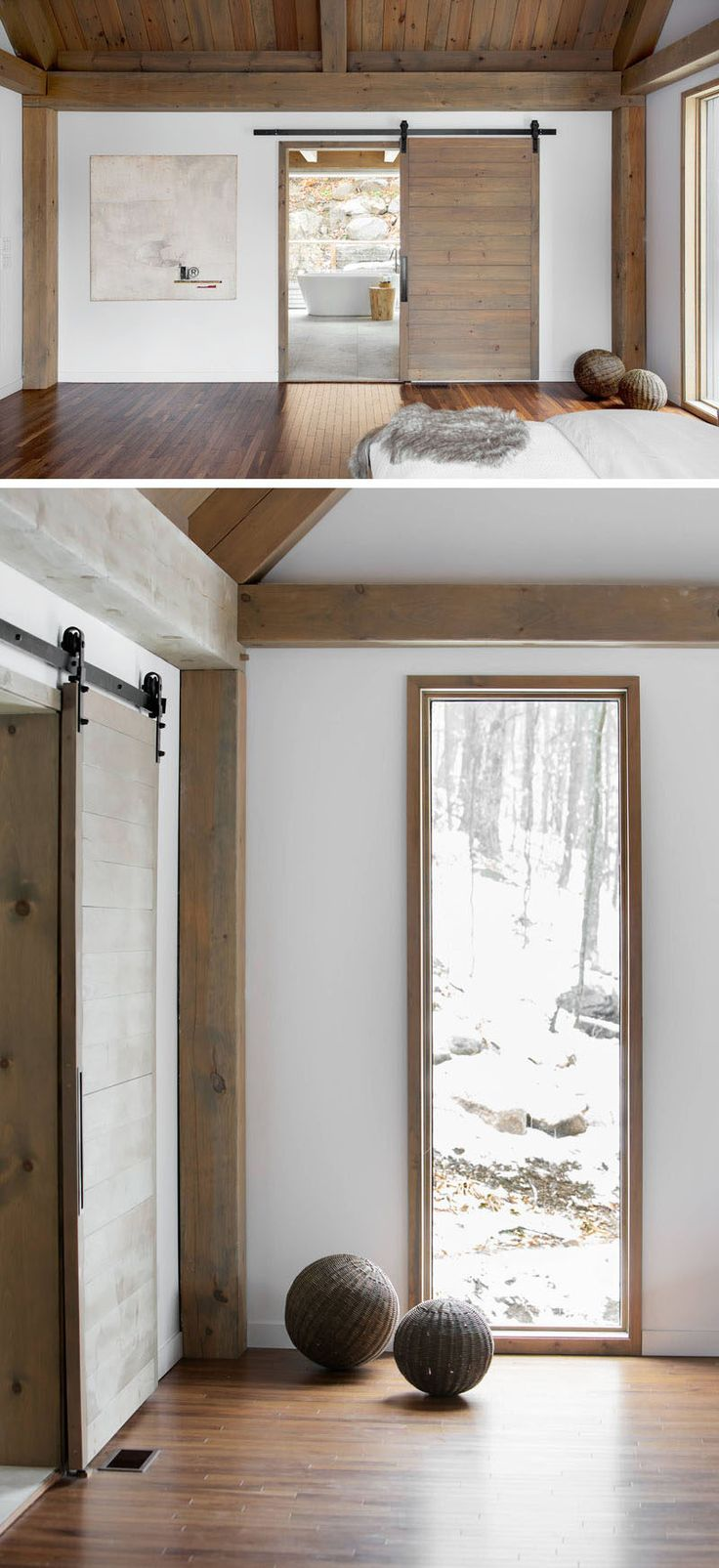in keeping with the rustic yet modern feel of the bedroom a sliding barn door