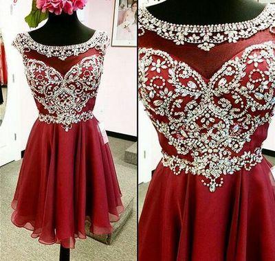 Rhinestone Homecoming Dress, Red beaded Homecoming Dress, 2016 Homecoming Dress…