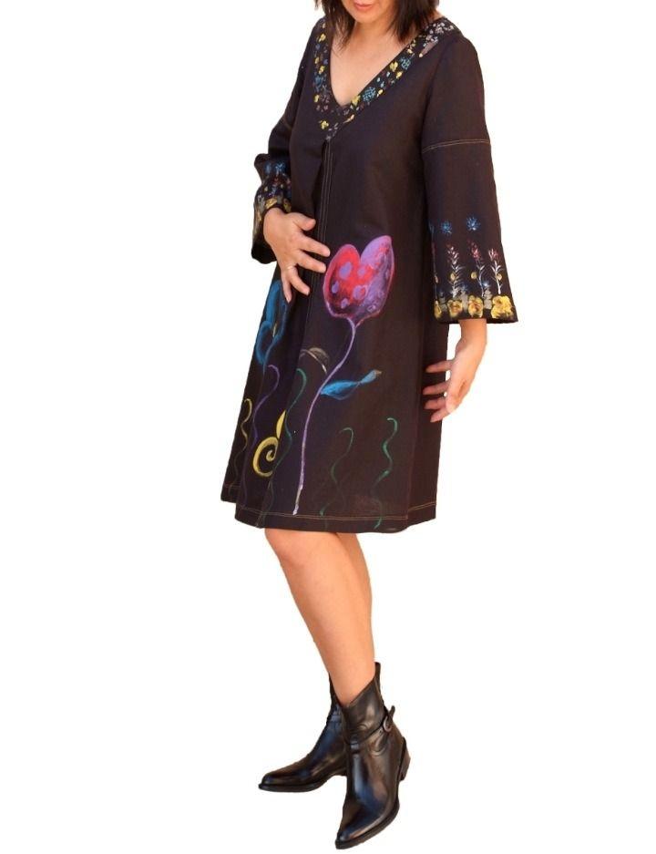 Robe noire en lin/ Broderie tunique/Blouse longue peinte à la main : Robe par zayade