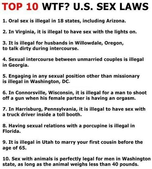 Top 10 WTF US sex laws. I don't know what to say