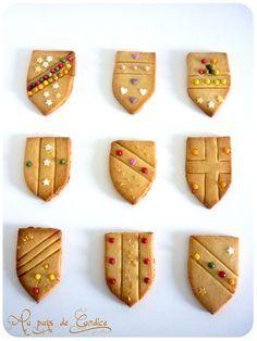 petits sablés boucliers pour fête chevaliers