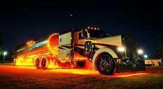 Custom Peterbilt tanker at night