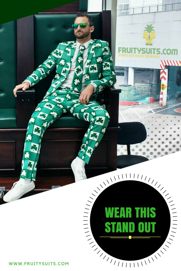 Shamrock suits made to stop traffic available now at www.fruitysuits.com