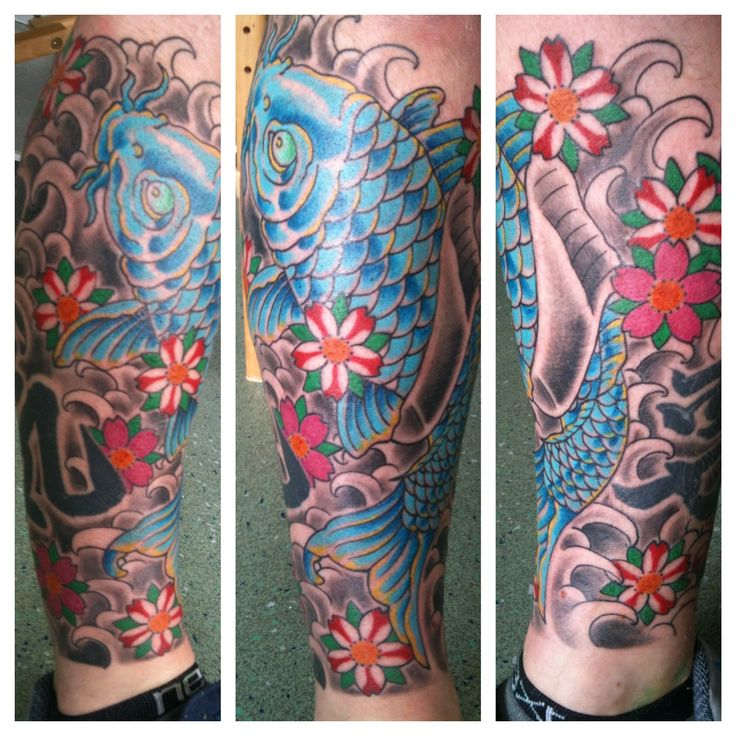 Japanese Dragon Tattoo On Leg Irish street tattoo koi carp
