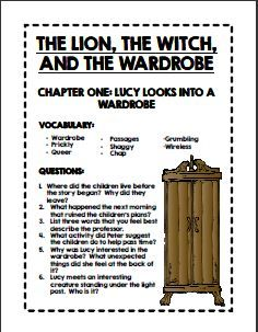 Worksheet The Lion The Witch And The Wardrobe Worksheets 1000 images about the lion witch and wardrobe teaching comprehension questions vocabulary answer keys for each chapter of novel huge