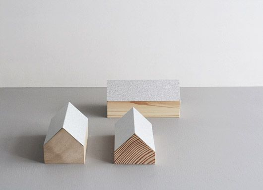 Beautiful wooden archetypical houses which double as boxes for jewelery by Nishimoto Ryota.