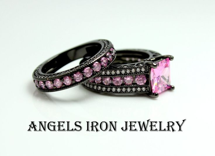 Black Gold Ring Set Engagament Wedding Anniversary Promise Rings Pink Sapphire CZ Women Unique Gothic Jewelry