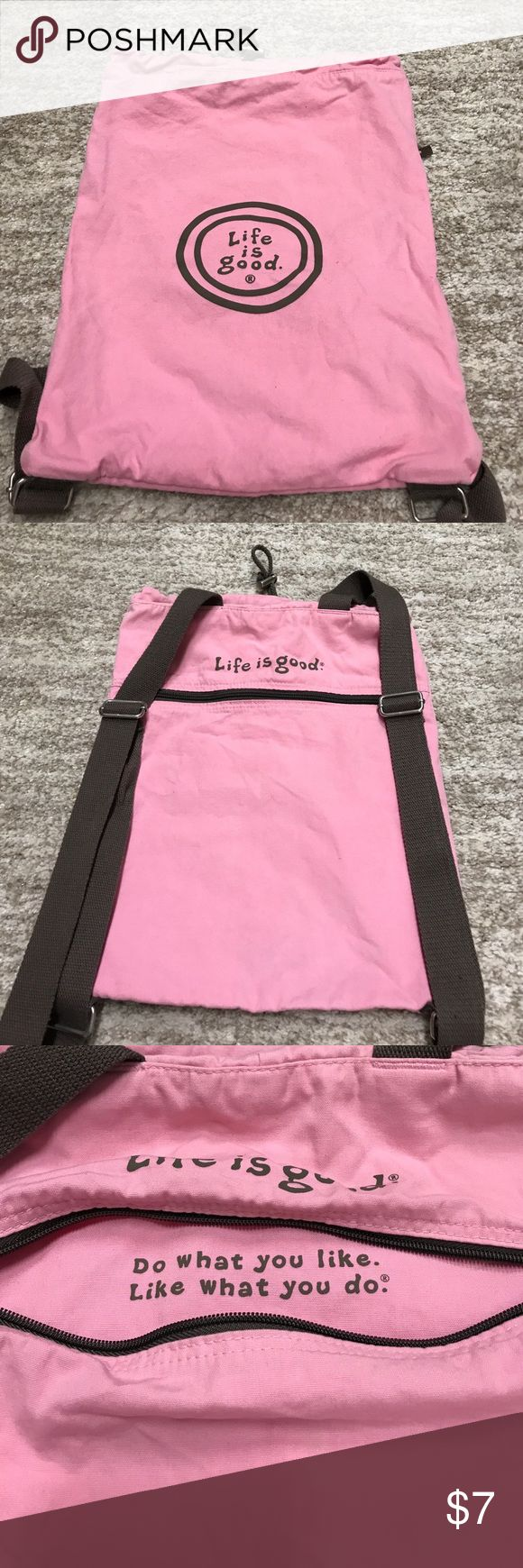 Life is Good backpack Pink cloth backpack with adjustable straps. No holes or tears but has some wear on corner. See last picture. Life is Good Bags Backpacks