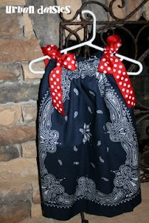 Bandana Dresses. Going to make these for future nieces or if any of my friends have girls. Super easy to make. Only need 2 bandannas, ribbon, and a sewing machine.