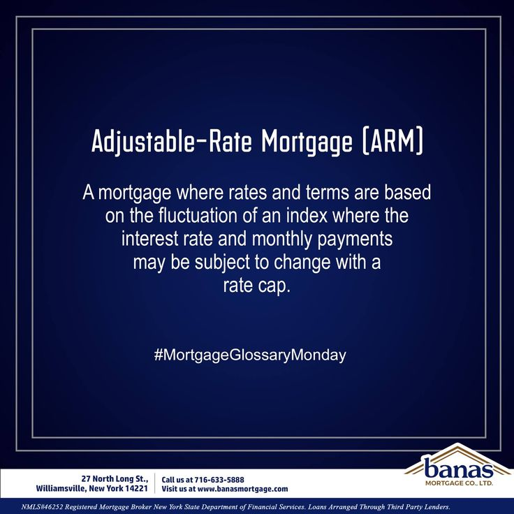 """Today's Mortgage Glossary term is """"adjustable-rate mortgage"""" (ARM)  This is a mortgage where rates and terms are based on the fluctuation of an index. This means that during the life of the loan the interest rate and monthly payments may be subject to change. Most often ARM loans have a rate cap that limits the amount interest can change in an adjustment period and over the life of the loan.   Let us know what other questions you have in the comments below!  #BanasMortgageCo…"""