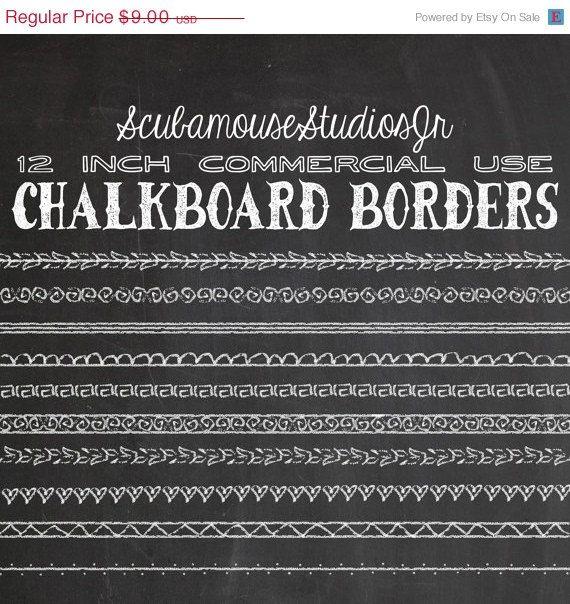 70% OFF SALE Chalkboard Borders 12 inch by ScubamouseStudiosJr