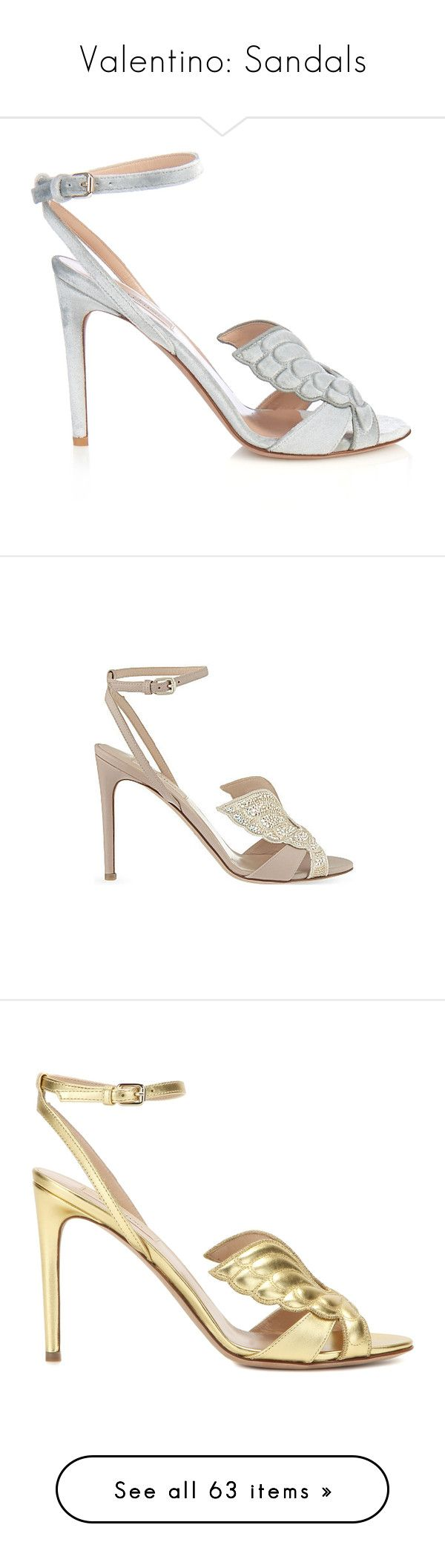 """Valentino: Sandals"" by livnd ❤ liked on Polyvore featuring shoes, sandals, heels, grey heeled shoes, angel wing shoes, gray shoes, angel wing sandals, grey shoes, valentino sandals and leather sole sandals"
