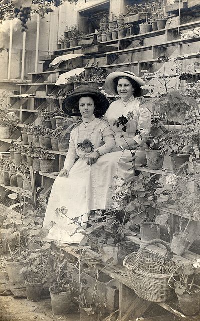 Two Edwardian young ladies among the pots! Great photo.
