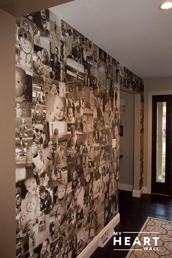 photo collage wall custom statement wallpaper. Black Bedroom Furniture Sets. Home Design Ideas