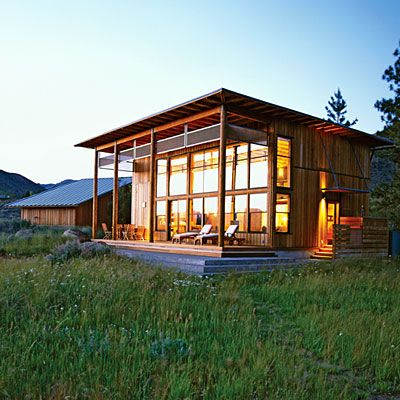 Cabin near Twisp, Wash. outdoor living rooms. Ray and Mary Johnston of Johnston Architects (206-523-6150) designed the 1,200-square-foot cabin Emountain view of Washington's Methow Valley and the Cascade Sawtooth Mountains.