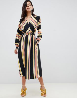 64fd26f45aab DESIGN wrap maxi dress in stripe with long sleeves   Dresses   Maxi ...