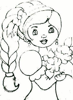 desenho de boneca com trança lateral e bouquet de rosas para pintar em tecido
