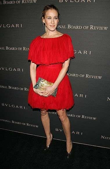 Look di Sarah Jessica Parker - Sarah Jessica Parker, abito romantico rosso intenso