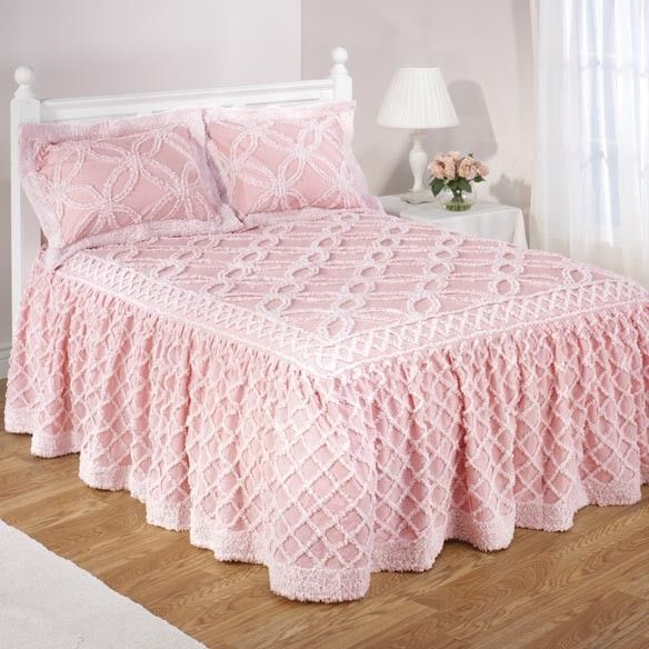 Chenille pink bedspreads full size | Pink Chenille Bedspread 100 Cotton New | eBay