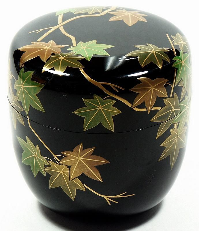 Tea caddy (natsume), maple leaves design, Japan, 20th c