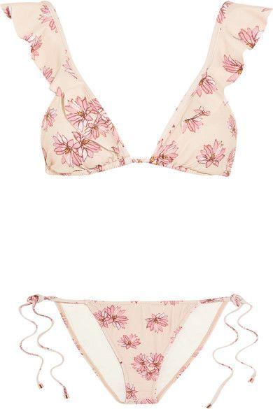 Eberjey - Flying Lotus Ruffled Floral-print Triangle Bikini - Pastel pink