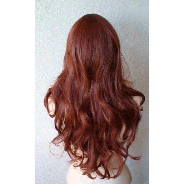 Auburn color wig. Auburn red color long wavy layered hairstyle daily... ($80) ❤ liked on Polyvore featuring beauty products, haircare, hair styling tools, hair, hairstyles and red hair care