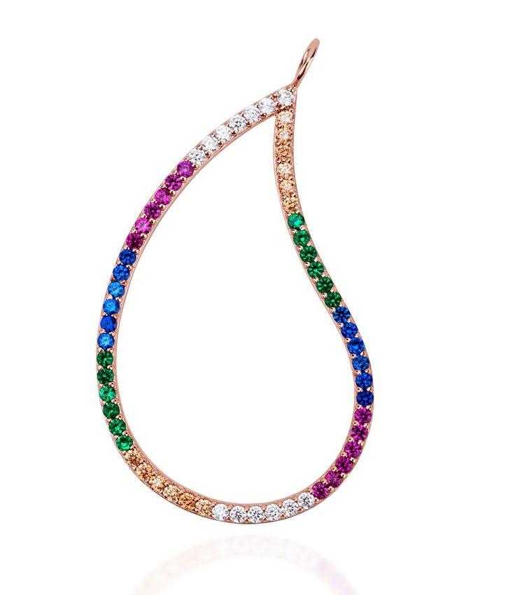 Large paisley multi coloured charm pendant