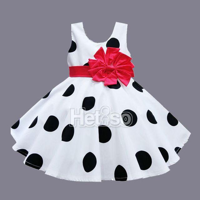6 M-5 T Do Bebê Roupas de Menina Preto Red Dot Grande Arco Princesa vestido de bebê roupa dos miúdos vestidos de verão infantis