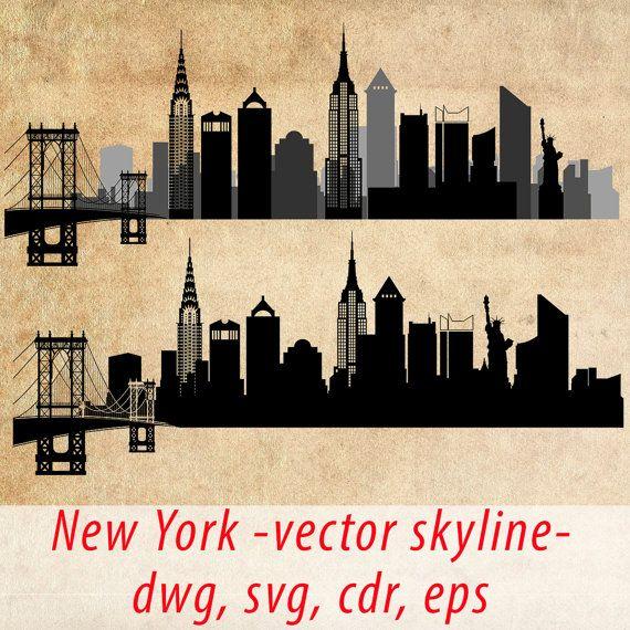 New York SVG, New York Clipart City Silhouette, New York Skyline Vector, Instant Download, eps, ai, cdr, dwg dxf, jpg, png - DigitalToolShop