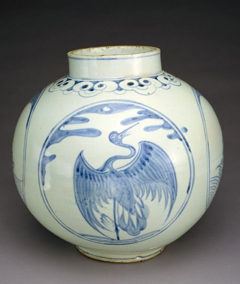 Jar with designs of tortoises and cranes 19th century Joseon period Porcelain clay with cobalt pigment under colorless glaze H: 30.5 W: 31.8 cm Korea