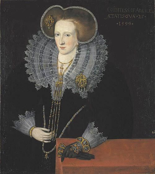Lady Agnes Douglas, Countess of Argyll, circa 1599-Wonderful example of late Elizabethan period! Her ruff is beautiful, and her gloves are just gorgeous. She wears a good deal of gold. It is her hair I find particularly interesting.