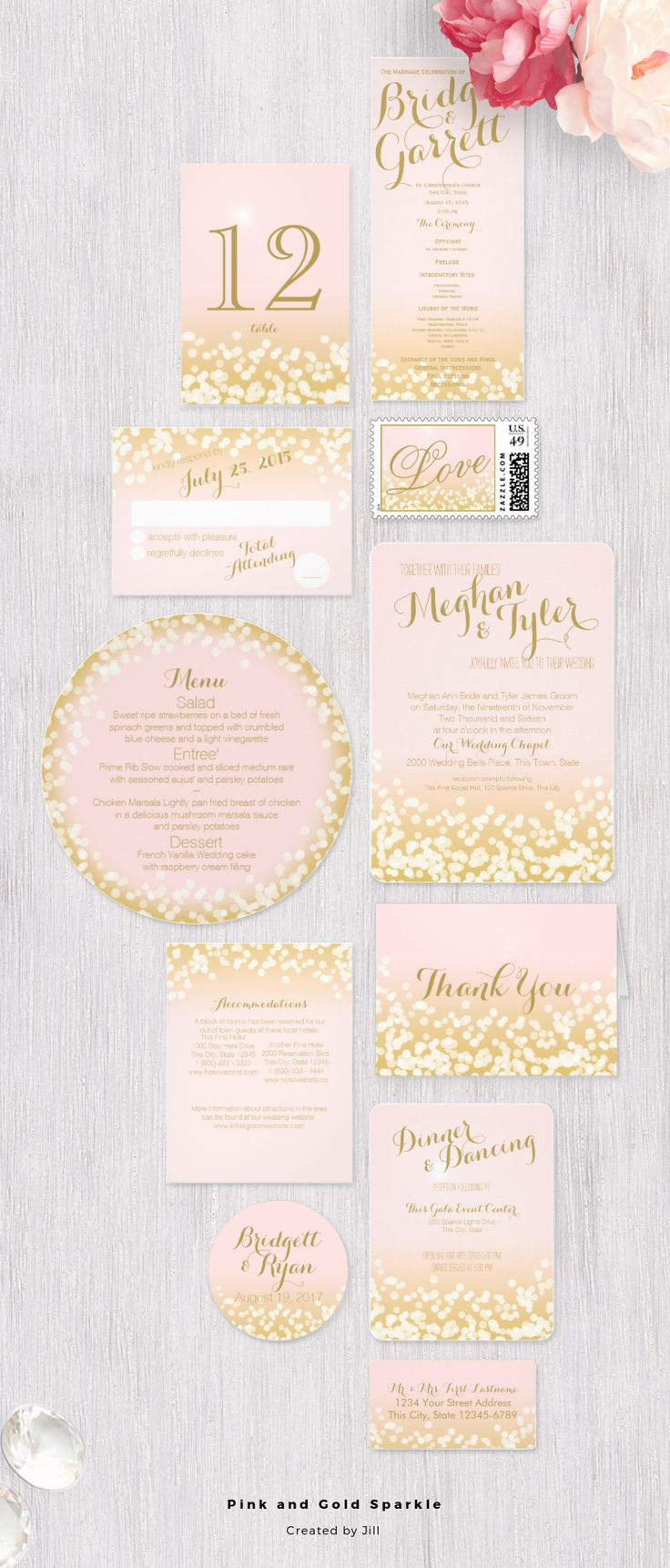 Pink and gold sparkle light effect wedding invitation design suite | RSVP, Save the date, Menu, postage