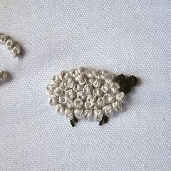 How to embroider a French knot sheep
