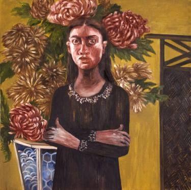 "Saatchi Art Artist Oksana Reznik; Painting, ""Chrysanthemum girl"" #art"