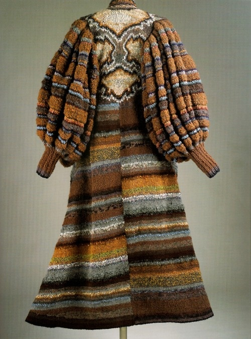 Hand-knitted coat by Kaffe Fassett, 1979.  Sort of one of the coolest things ever.